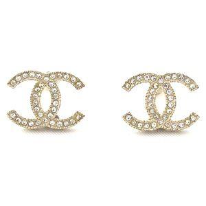 CHANEL Gold Large Moscova Swarovski Crystals CC